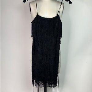 Black body con fringe dress